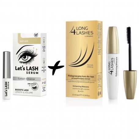 LONG 4 LASHES PACK SERUM DE PESTAÑAS Y CEJAS 3 ML + MASCARA DE PESTAÑAS NEGRA