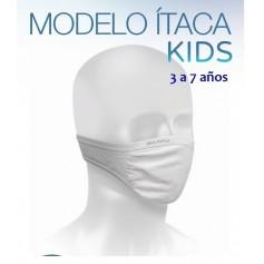 MASCARILLA REUTILIZABLE MUVU MODELO ITACA KIDS 3-7 AÑOS BLANCA LAVABLE 130 LAVADOS